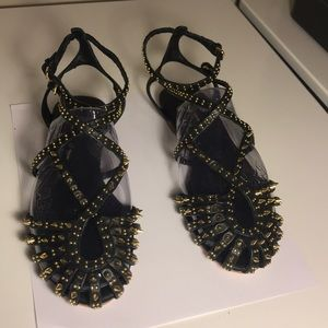 SIZE 7.5 ZARA STUDDED SANDALS WITH ANKLE STRAP